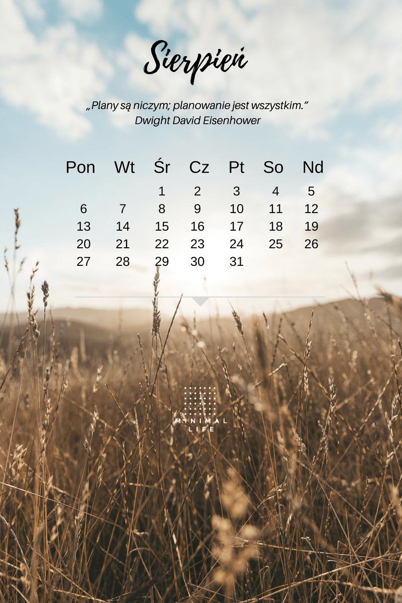 Tapeta zkalendarzem nasierpień 2018