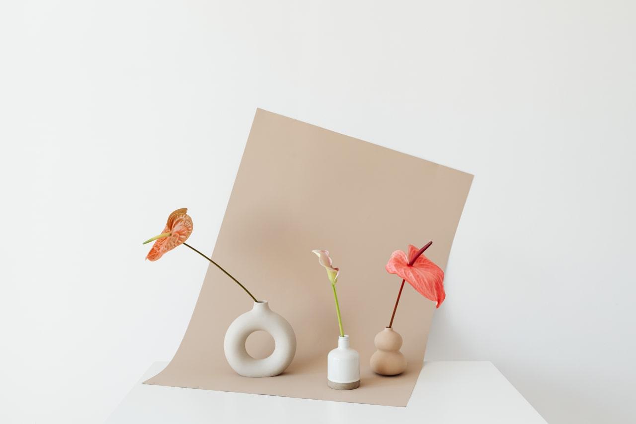 Jeśli cele łączą się z wartościami, to łatwiej osiągnąć sukces. na obrazku kilka wazoników z kwiatami obrazujących różne cele i wartości.